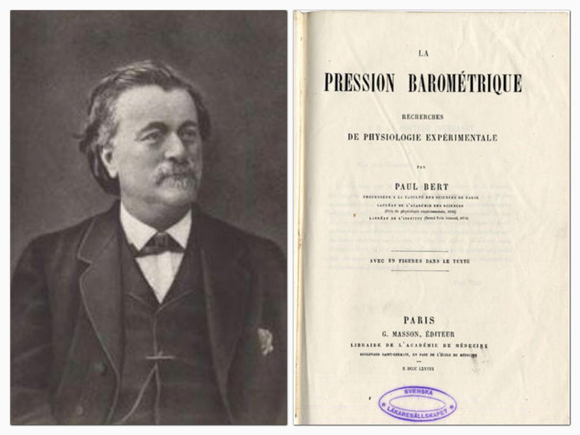 """Paul Bert francia orvos 1878-ban írta a """"La Pression barometrique"""" c. művét."""